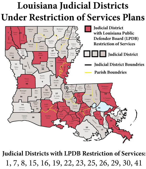 Click Here for a PDF of a map that show the Judicial Districts with LPDB Restriction of Services Plan